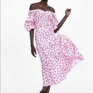 Zara floral midi skirt with belt
